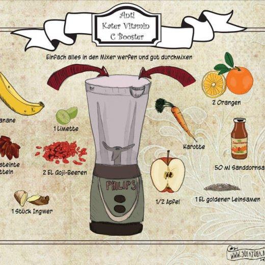 Anti Kater Smoothie- neues illustriertes veganes Rezept