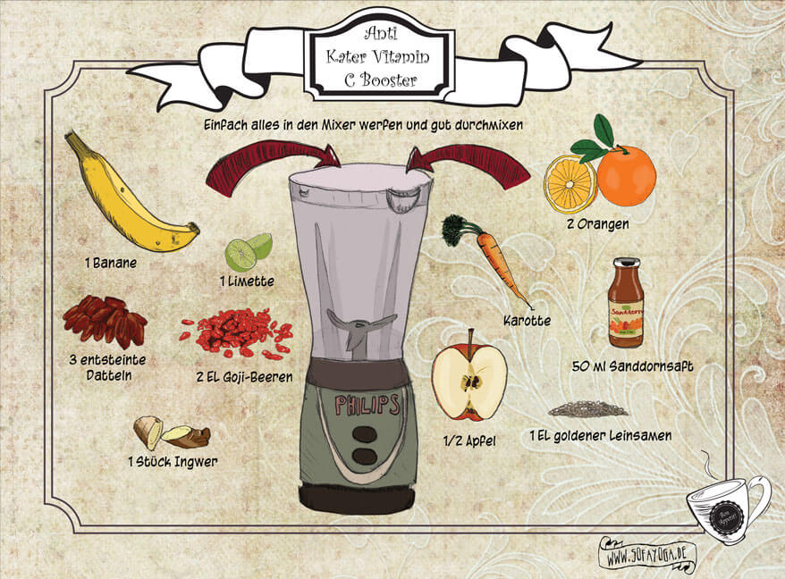 Anti Kater Smoothie- neues illustriertes veganes Rezept
