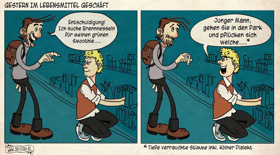 Brennesseln sofayoga gruener smoothie comic