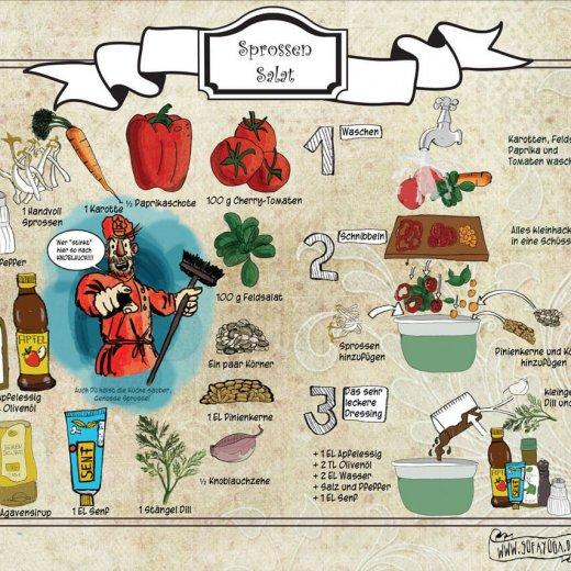 Sprossen Salat veganes illustriertes Rezept