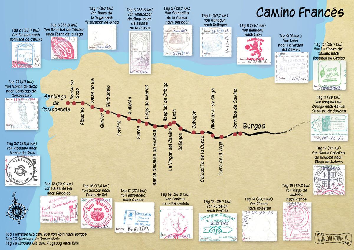 Karte Jakobsweg 2013 von Burgos nach Santiago de Compostela