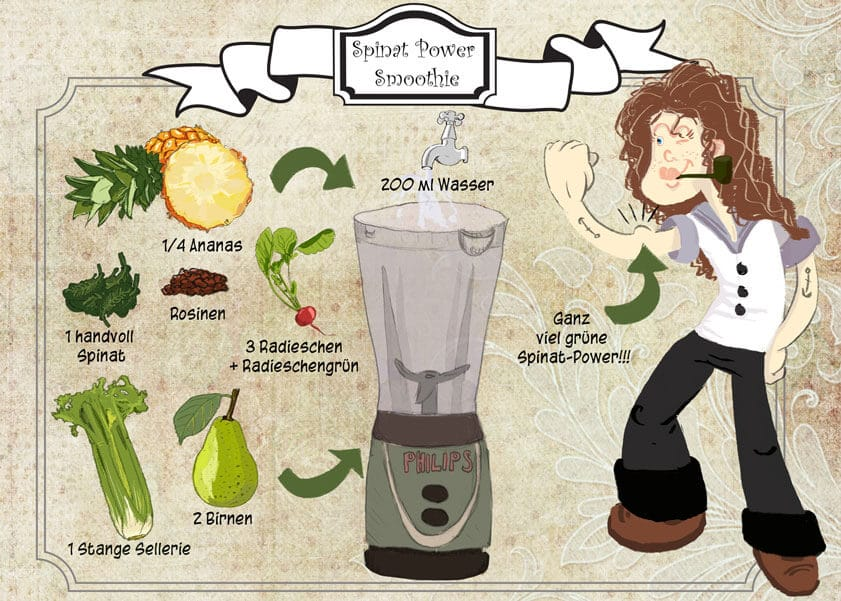 Illustriertes veganes Rezept - Spinat Power Smoothie
